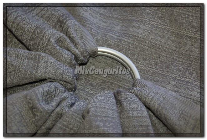 Las anillas se colocan en uno de los extremos cortos de la bandolera y lo más habitual (aunque pueden usarse sin coser a la tela) es que la tela vaya cosida